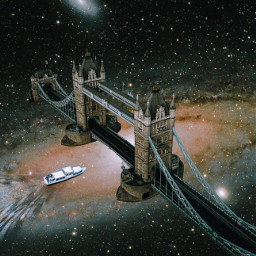 freetoedit london bridge space stars surreal surrealart boat plrd3 river collage universe galaxy unsplash