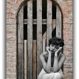 burg castle door secret womanportrait blackandwhite olddoor local