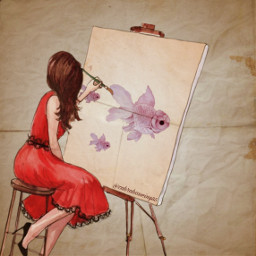 girl draw paint paper fish freetoedit picsart srcpinkfishies pinkfishies