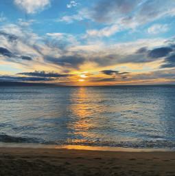 freetoedit sunset beach ocean hawaii clouds goldenhour sky reflection