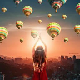 girl sun sunset city sky balloons sunny beautiful freetoedit unsplash srcflyingairballoons flyingairballoons
