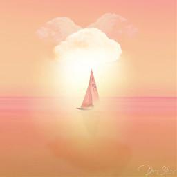 freetoedit clouds sea ocean boat orange sun ircgentlecloud gentlecloud