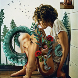 art horror picsart girl octopus face faceart scream nature design layers body bodyart freetoedit fcimaginationsplash imaginationsplash