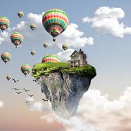 freetoedit unsplash island house balloons sky srcflyingairballoons flyingairballoons