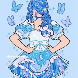 fresh_bobatae bluegirl ocean butterfly moon blueaesthetic anime stars starconstellations sparkles sea beachwaves cartoon girl astrology animestyle ecblueaesthetic