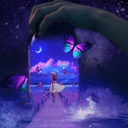 girl galaxy sky moon star modern bridge walk blue pink purple aesthetic picsart freetoedit butterfly clouds hand jar challenge ircanemptyjar anemptyjar