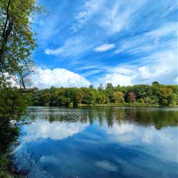 freetoedit river sky clouds reflection autumn fall nature landscape naturephotography bluesky forest