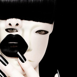 illusion woman mask blackandwhite creepy freetoedit local