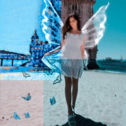 blue art azul butterflies magiceffects freetoedit picsart ecblueaesthetic blueaesthetic