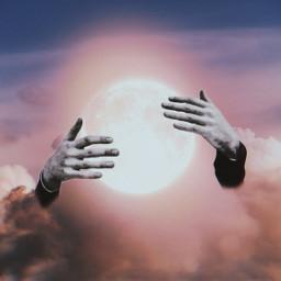 freetoedit moon sky clouds hands holdingthemoon