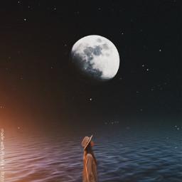 space moon night sea freetoedit