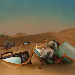 tv television surrealism surreal desert squirrel sand freetoedit madewithpicsart picsart irconretrotv onretrotv