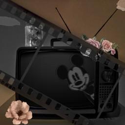 mickey minnie freetoedit retro vintage brown cinema tv television past old outdated floral cartoon disney edit jar picsart irconretrotv onretrotv