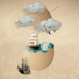 freetoedit egg sea ship clouds birds surreal surrealart water ocean wrack