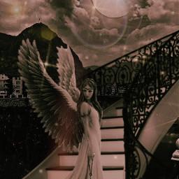 freetoedit mastershoutout artistoftheweek myremix remixeedit angel staircase moon clouds sky picdarteffects lensflare fxtool glitter glittery picsartmakeawesome heypicsart createdbyme local