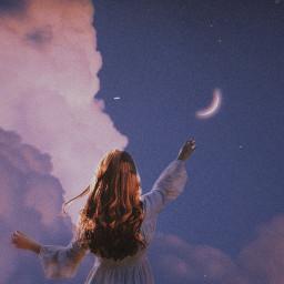 woman moon sky clouds freetoedit