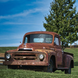 truck abandoned true rust tree freetoedit local