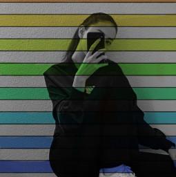 freetoedit rainbow girl blackandwhite red orange yellow green blue purple phone replay like follow