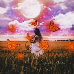 freetoedit sky skyaesthetic galaxy galaxyaesthetic galaxysky clouds moon butterflies butterfly butterflyaesthetic feild glitter girl aesthetic aestheticedit replay