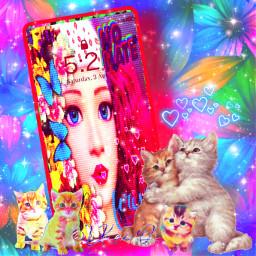freetoedit design illustration phonescreen wallpaper cats cartoon colorful bright picsart colorinme rcphonescreenwallpaper phonescreenwallpaper