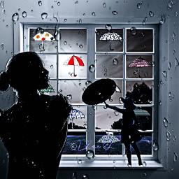 freetoedit sticker umbrella shillouette window picsart colorinme srcdoodleumbrellas doodleumbrellas