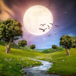 freetoedit landscape river valley forest sunset birds moon