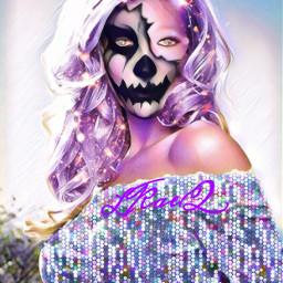 freetoedit mask scaryface woman offshoulder colorinme srchalloweenmask halloweenmask